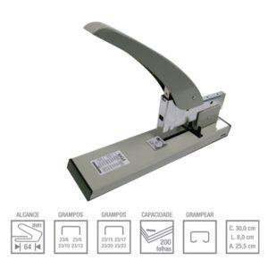 Grampeador Manual Metalico Profissional 200 Folhas 939-0